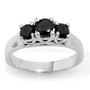 0.55 ctw VS Certified Black Diamond 3 Stone Ring 18k
