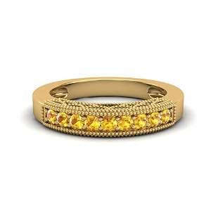 0.50 ctw Yellow Sapphire Art Deco Ring 10k Yellow Gold