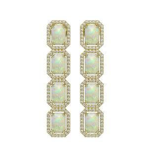 7.93 ctw Opal & Diamond Micro Pave Halo Earrings 10k