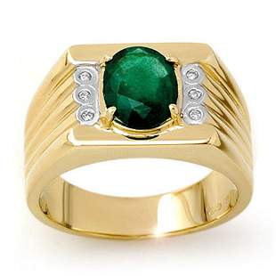 2.06 ctw Emerald & Diamond Men's Ring 10k Yellow Gold -