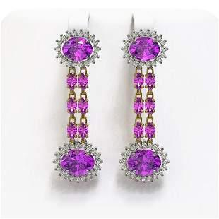 10.4 ctw Amethyst & Diamond Earrings 14K Yellow Gold -