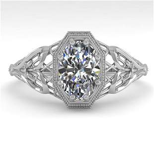 1.0 ctw VS/SI Oval Diamond Engagment Ring Art Deco 18k