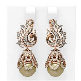 3.13 ctw Diamond & Pearl Earrings 18K Rose Gold -