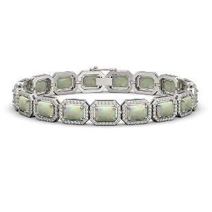 16.86 ctw Opal & Diamond Micro Pave Halo Bracelet 10k