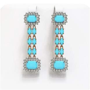 9.54 ctw Turquoise & Diamond Earrings 14K Rose Gold -
