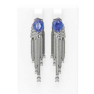 9.49 ctw Tanzanite & Diamond Earrings 18K White Gold -