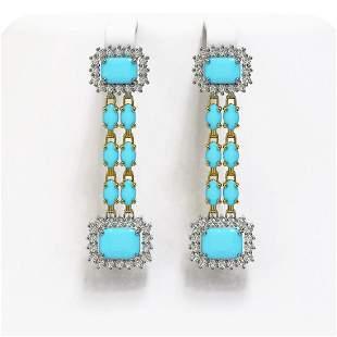 9.54 ctw Turquoise & Diamond Earrings 14K Yellow Gold -
