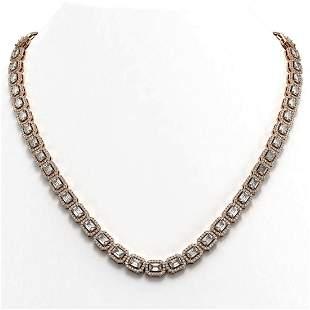 24.86 ctw Emerald Cut Diamond Micro Pave Necklace 18K