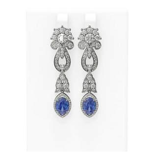 8.14 ctw Tanzanite & Diamond Earrings 18K White Gold -
