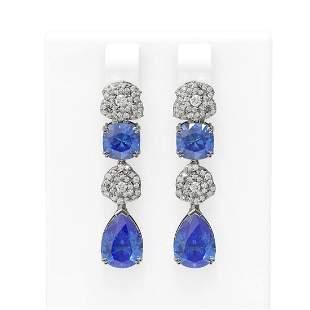 11.6 ctw Tanzanite & Diamond Earrings 18K White Gold -