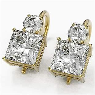 2.5 ctw Princess Cut Diamond Designer Earrings 18K