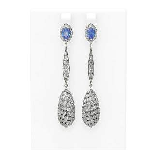 6.5 ctw Tanzanite & Diamond Earrings 18K White Gold -