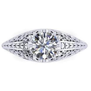 1 ctw Solitaire Certified VS/SI Diamond Ring Art Deco