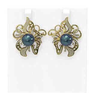 1.52 ctw Diamond & Pearl Earrings 18K Yellow Gold -