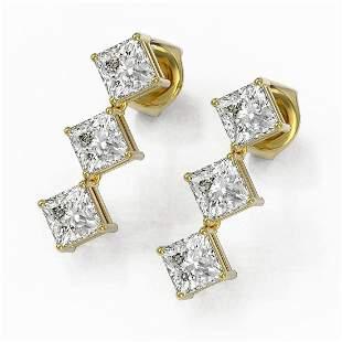 2 ctw Princess Cut Diamond Designer Earrings 18K Yellow