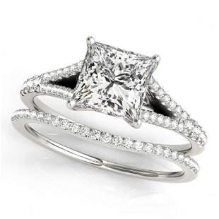 0.94 ctw Certified VS/SI Princess Diamond 2pc Set 14k