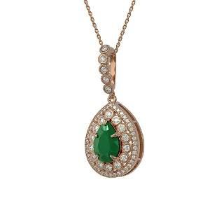 4.97 ctw Certified Emerald & Diamond Victorian Necklace