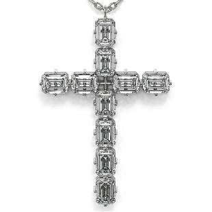 2.5 ctw Emerald Cut Diamond Cross Necklace 18K White