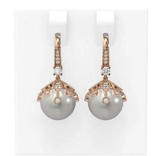 1 ctw Diamond & Pearl Earrings 18K Rose Gold -