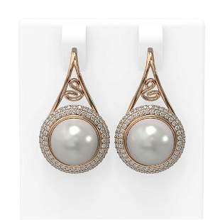 1.31 ctw Diamond & Pearl Earrings 18K Rose Gold -