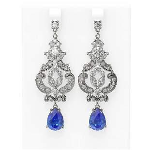 11.64 ctw Tanzanite & Diamond Earrings 18K White Gold -