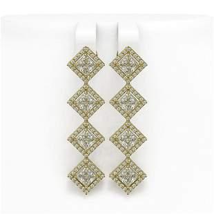 5.92 ctw Princess Cut Diamond Micro Pave Earrings 18K