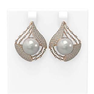 2.3 ctw Diamond & Pearl Earrings 18K Rose Gold -