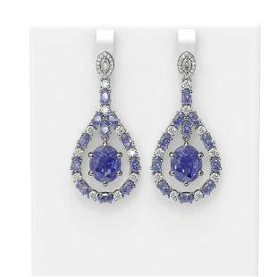 20.36 ctw Tanzanite & Diamond Earrings 18K White Gold -