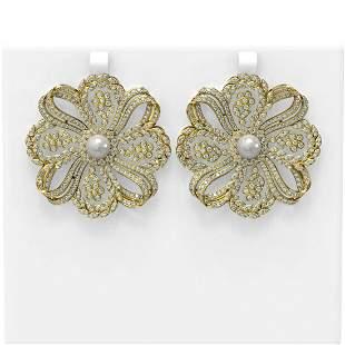 9 ctw Diamond & Pearl Earrings 18K Yellow Gold -