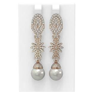 3.61 ctw Diamond & Pearl Earrings 18K Rose Gold -