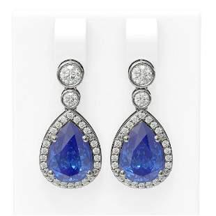 2.8 ctw Tanzanite & Diamond Earrings 18K White Gold -