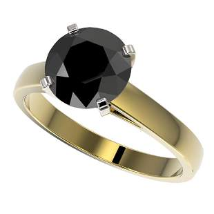 2.59 ctw Fancy Black Diamond Solitaire Engagment Ring