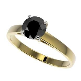 1 ctw Fancy Black Diamond Solitaire Engagment Ring 10k