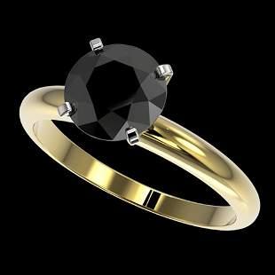 2 ctw Fancy Black Diamond Solitaire Engagment Ring 10k