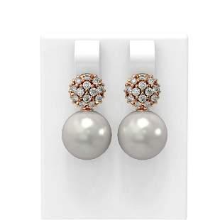 0.63 ctw Diamond & Pearl Earrings 18K Rose Gold -
