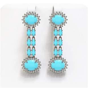 9.94 ctw Turquoise & Diamond Earrings 14K White Gold -