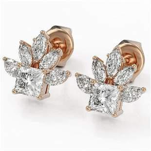 1.75 ctw Princess Cut Diamond Designer Earrings 18K