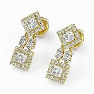 2.16 ctw Princess & Marquise Cut Diamond Earrings 18K