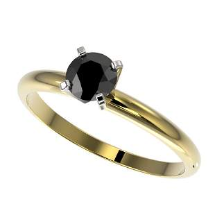 0.50 ctw Fancy Black Diamond Solitaire Engagment Ring