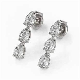 1.62 ctw Pear Cut Diamond Designer Earrings 18K White