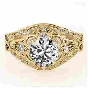 0.87 ctw Certified VS/SI Diamond Antique Ring 18k