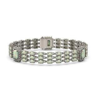 20.67 ctw Opal & Diamond Bracelet 14K White Gold -