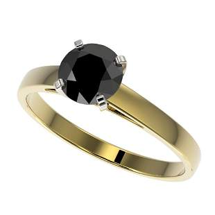 1.08 ctw Fancy Black Diamond Solitaire Engagment Ring