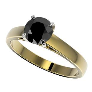 1.25 ctw Fancy Black Diamond Solitaire Engagment Ring