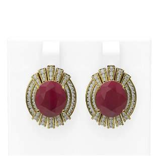 15.47 ctw Ruby & Diamond Earrings 18K Yellow Gold -