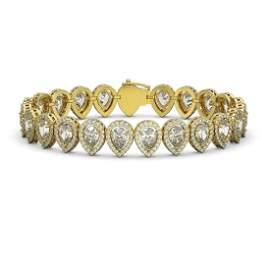 18.55 ctw Pear Cut Diamond Micro Pave Bracelet 18K