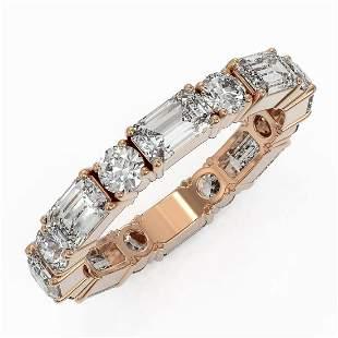 3.12 ctw Emerald Cut Diamond Eternity Ring 18K Rose
