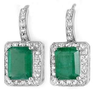 3.50 ctw Emerald & Diamond Earrings 18k White Gold -
