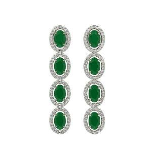 6.47 ctw Emerald & Diamond Micro Pave Halo Earrings 10k