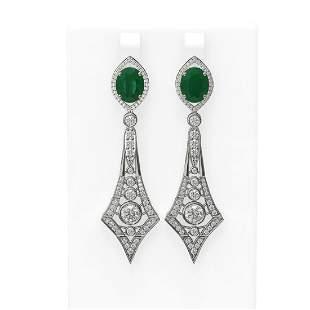 10.22 ctw Emerald & Diamond Earrings 18K White Gold -